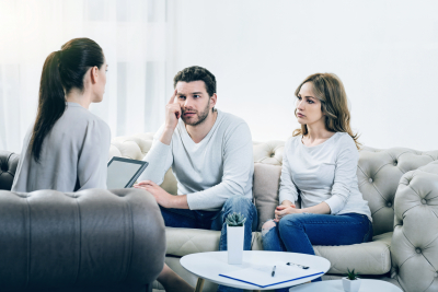 Couple having a therapy with  the psychotherapist
